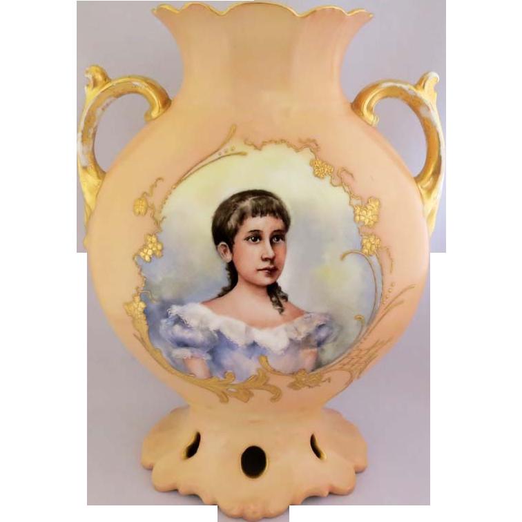 Porcelain Portrait Vase Jean Pouyat Limoges France, Easter 1905