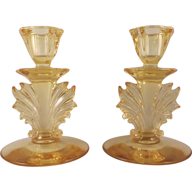 Fostoria Baroque Topaz Yellow Flaming Candle Holders c. 1936