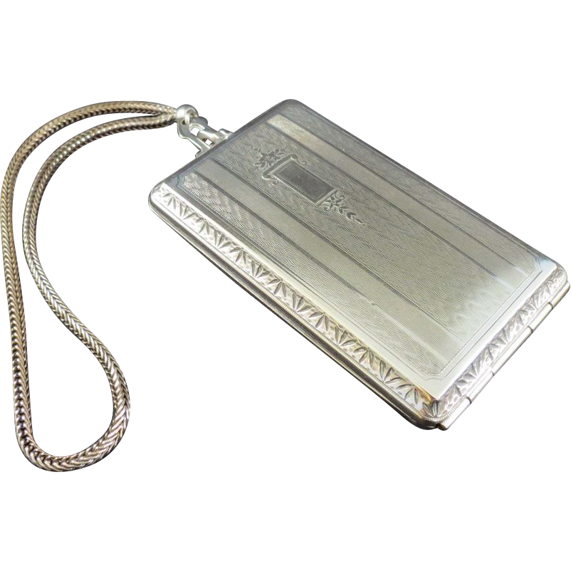 Nickel Silver Art Deco Compact Purse EVANS