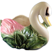 Large Vintage Ceramic Swan Planter