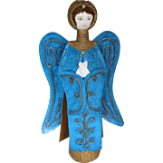 Vintage Figure Paper Mache Angel with Detachable Wings 17 in. Tall