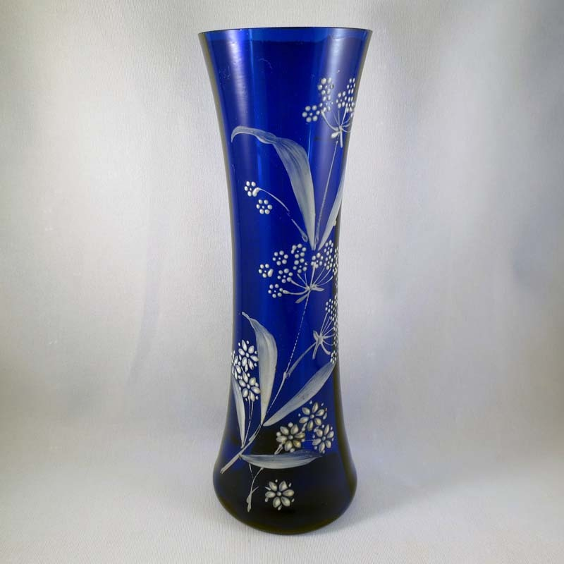 Victorian Cobalt Blue Vase with White Enamel Floral Design