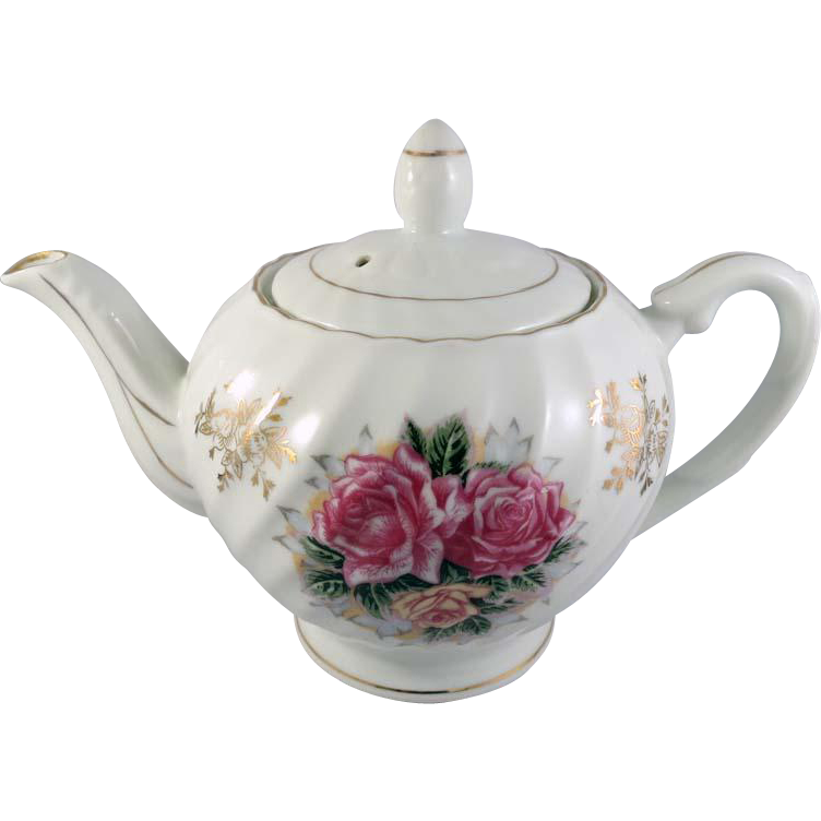 Vintage White Porcelain Teapot with Roses