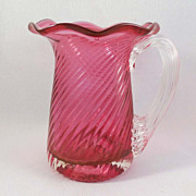Vintage Cranberry Blown Pitcher with Twisted Patten