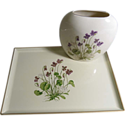 Otagiri Lacquerware Tray and Porcelain Pillow Vase/Violets