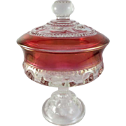 Indiana Glass King's Crown, Ruby Flashed Thumbprint Lidded Compote