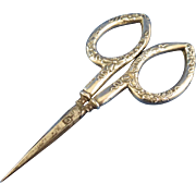 Small German Sterling Sewing Scissors with Floral Repoussé Design