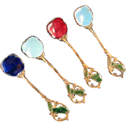 Gilt & Enamel Salt Spoons, Set of 4