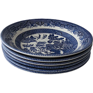 Blue Willow Transferware 8 in. Soup/Cereal Bowls, Set of 6, Churchill Made in Staffordshire England