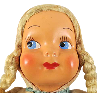 Vintage Groggly Eyed Composition Head & Cloth Bodied 12-in. Doll