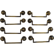Vintage Solid Brass Furniture drawer Pulls/Handles/Hardware with Octagonal Rosettes