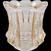 EAPG Vintage Pattern Glass Toothpick Holder Banded Portland U.S. Glass c. 1901