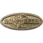 Chauffeur Registered License Badge Pin, Vintage, Illinois, 1913