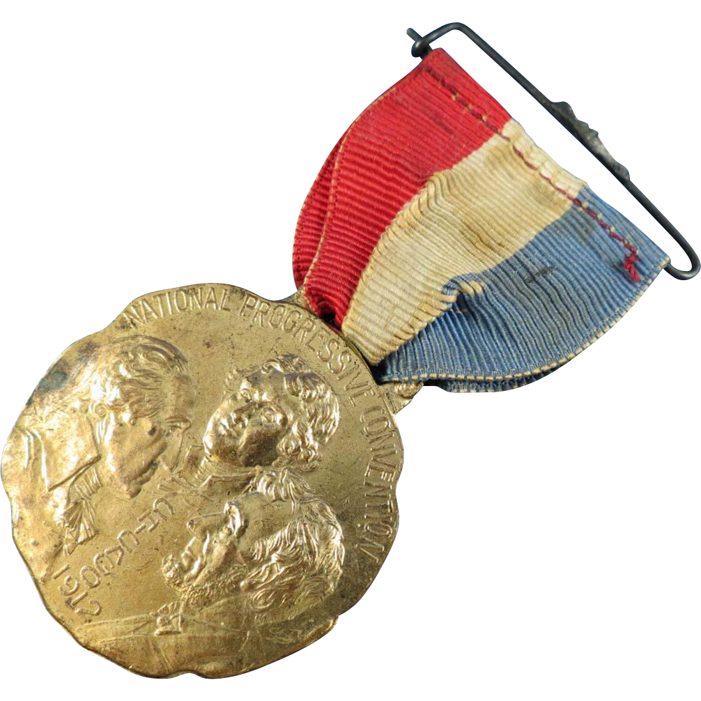 1912 National Progressive Convention Badge with Ribbon
