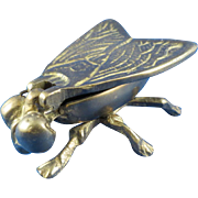 Solid Brass Fly Hinged Lid Wings Match/Trinket Holder Insect