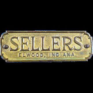 Original Sellers Brass Metal Furniture Tag