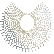 Vintage Wide Faux Pearl Collar Necklace
