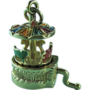 Fabulous Vintage 14K Gold Moveable Merry-go-round Charm