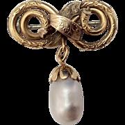 Victorian 14K Gold Love Knot & Pearl Brooch c1880