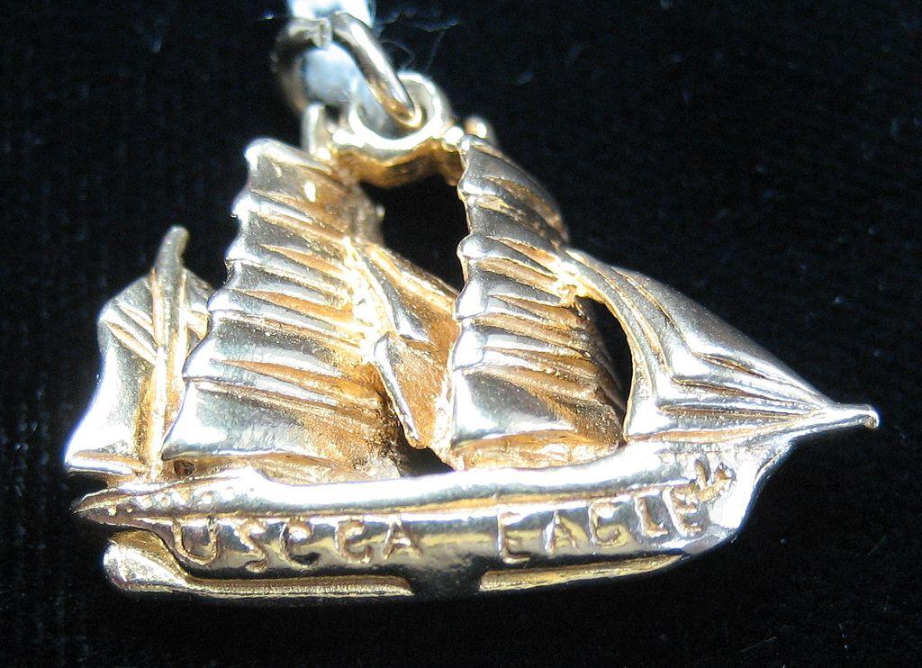 Vintage 14K Gold United States Coast Guard's Eagle Sailing Ship Charm