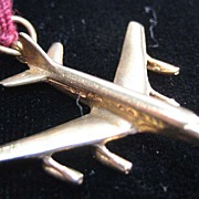 Vintage 14K Gold 747 Airplane Charm