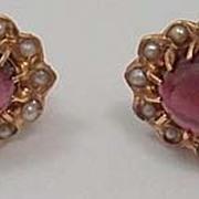 14K Cabochon Garnet & Pearl Earrings