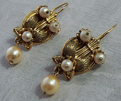 Victorian Pearl & Lyre Earrings