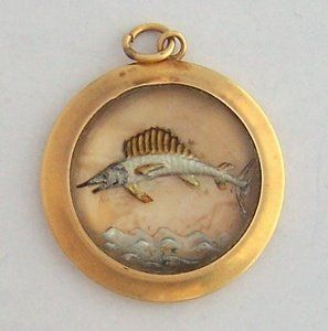 Vintage 14K Gold Sailfish Charm ~ Reverse Painting on Crystal