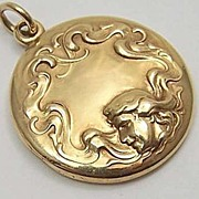 14K Gold Art Nouveau Locket ~ Classic Woman & Flowing Hair