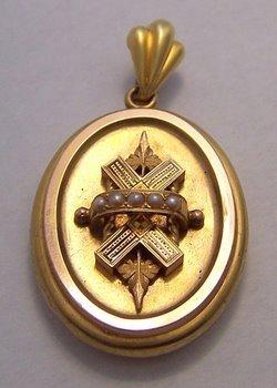 Victorian 14K Gold Pearl & Enamel Locket Pendant