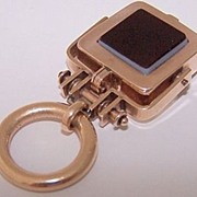 Antique 10K Rose Gold Intaglio Locket Fob Pendant