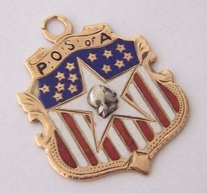 0K Fraternal Organization American Flag Enamel Fob ~ POS of A