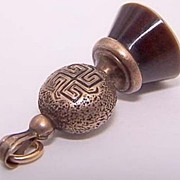 Victorian Watch Fob ~ Greek Key Motif ~ 10K Sardonyx & Black Enamel