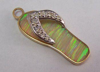 14K Gold Vintage Charm ~ Colorful Flip Flop Sandal