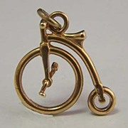 14K Gold Vintage Charm ~ Antique Highwheel Bicycle