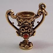 14K Gold Vintage Charm ~ Etruscan & Gemstone Chalice