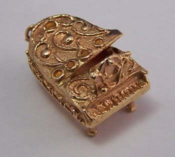 14K Gold Vintage Charm ~ Etruscan Grand Piano