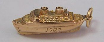 9K Gold Vintage Travel Charm ~ Cruise Ship 1962