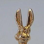 14K Gold Vintage Charm ~ Figural Rabbit ~ Movable