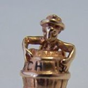 14K Gold Vintage Charm ~ Naked Man in a Barrel