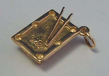 14K Gold Vintage Charm ~ Figural Pool Table