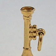 14K Gold Vintage Charm ~ Horned Musical Intrument ~ Trumpet