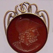 14K Gold Carnelian Intaglio AJAX Watch Fob