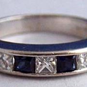 Diamond Sapphire 14K WG Channel Set Band / Anniversary Ring