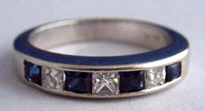 Diamond Sapphire 14K WG Channel Set Band / Anniversary Ring