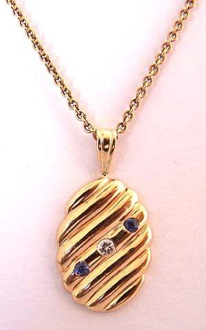 14K Gold Diamond & Sapphire Necklace