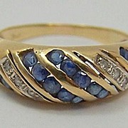 Estate Jewelry 14K Gold Diamond & Sapphire Ring