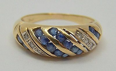 Estate Jewelry 14K Gold Diamond & Sapphire Ring