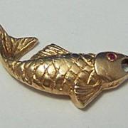 14K Gold Vintage Charm ~ Figural Fish
