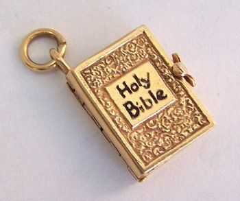14K Gold Vintage Charm ~ Holy Bible ~ Opens with Verses